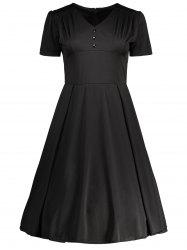 Vintage High Waisted Ruched Flare Dress