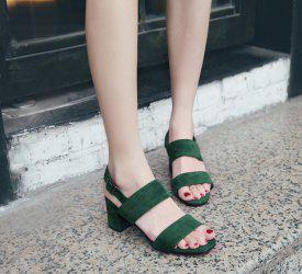 Buckle Strap Block Heel Sandals