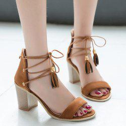 Tie Up Block Heel Tassels Sandals