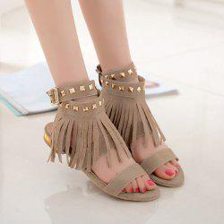 Rivets Fringe Flat Sandals