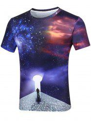 3D Spiral Gate Print Galaxy T-Shirt
