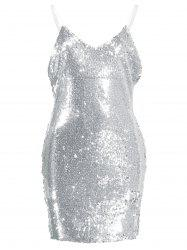 Mini Sequin Glitter Slip Party Tight Dress - SILVER