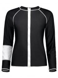Zip Up Long Sleeve Plus Size Swim Top