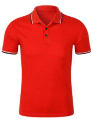 Striped Trim Half Button Polo Shirt