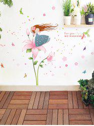 Cartoon Girl Blowing Petals Removable Kids Room Wall Sticker