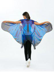 Sleeveless Butterfly Wing Cape Voile Pashmina - BLUE