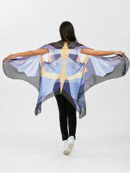 Abstract Sleeveless Color Block Butterfly Wing Voile Pashmina