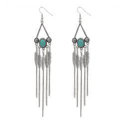 Artificial Turquoise Triangle Fringed Leaf Earrings -