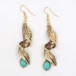 Artificial Turquoise Alloy Leaf Earrings - GOLDEN