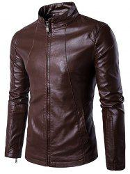 Panel Design Zip Up PU Leather Jacket -