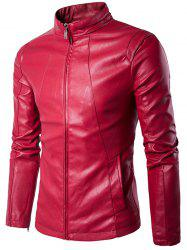 Panel Design Zip Up PU Leather Jacket