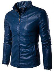 Conception Panel Zip Up PU Leather Jacket - Royal XL