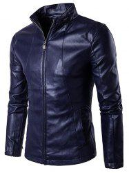 Panel Design Zip Up PU Leather Jacket - CADETBLUE L