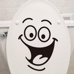 Smile Face Pattern Toilet Wall Art Sticker Custom - BLACK