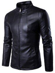 Panel Design Zip Up PU Leather Jacket - BLACK XL