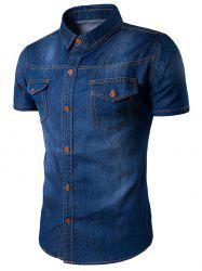 Col rabattu Bleach Wash poches Denim Shirt - Bleu Foncu00e9
