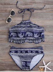 High Neck Animal Print Flounce Boho Bikini Swimsuit
