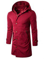 Hooded Zipper Pockets Polyester Coat - WINE RED