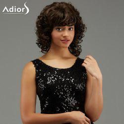 Adiors Medium Curly Hairstyle Full Bang Fluffy Synthetic Wig - BROWN