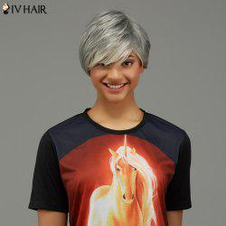 Short Straight Fluffy Oblique Bang Capless Human Hair Wig