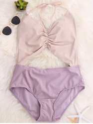 Color Block Backless Halter Swimsuit - LIGHT PURPLE