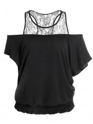 Batwing Lace Trim Elasticated Hem Top - BLACK M