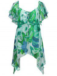 Plus Size Tropical Floral Chiffon Top