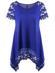 Raglan Sleeve Lace Trim Asymmetric Long T-Shirt -