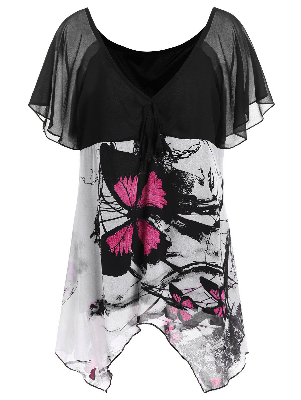 Plus Size Chiffon Butterfly Print TopWOMEN<br><br>Size: 3XL; Color: BLACK; Material: Polyester; Fabric Type: Chiffon; Shirt Length: Long; Sleeve Length: Short; Collar: V-Neck; Style: Fashion; Season: Summer; Pattern Type: Print; Weight: 0.2500kg; Package Contents: 1 x Top;
