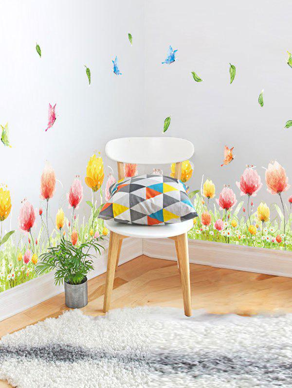 Fancy Butterfly Flower Print Vinyl Decorative Wall StickerHOME<br><br>Size: 50*70CM; Color: COLORMIX; Wall Sticker Type: 3D Wall Stickers; Functions: Decorative Wall Stickers; Theme: Plants/Flowers; Material: PVC; Feature: Removable; Weight: 0.2600kg; Package Contents: 1 x Wall Sticker;