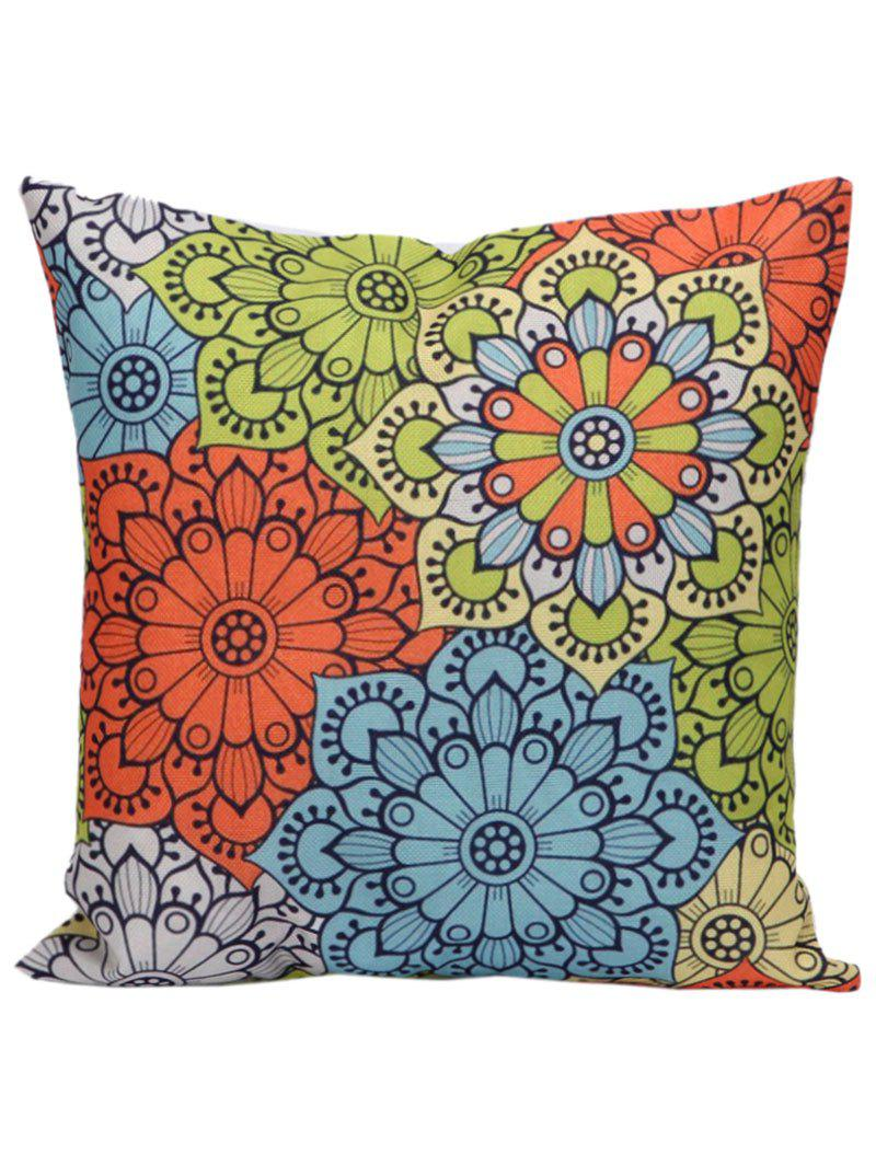 Ethnic Floral Back Cushion Throw PillowcaseHOME<br><br>Size: 45*45CM; Color: COLORMIX; Material: Linen; Pattern: Floral; Style: Traditional/Classic; Shape: Square; Size(CM): 45*45CM; Weight: 0.1000kg; Package Contents: 1 x Pillow Case;