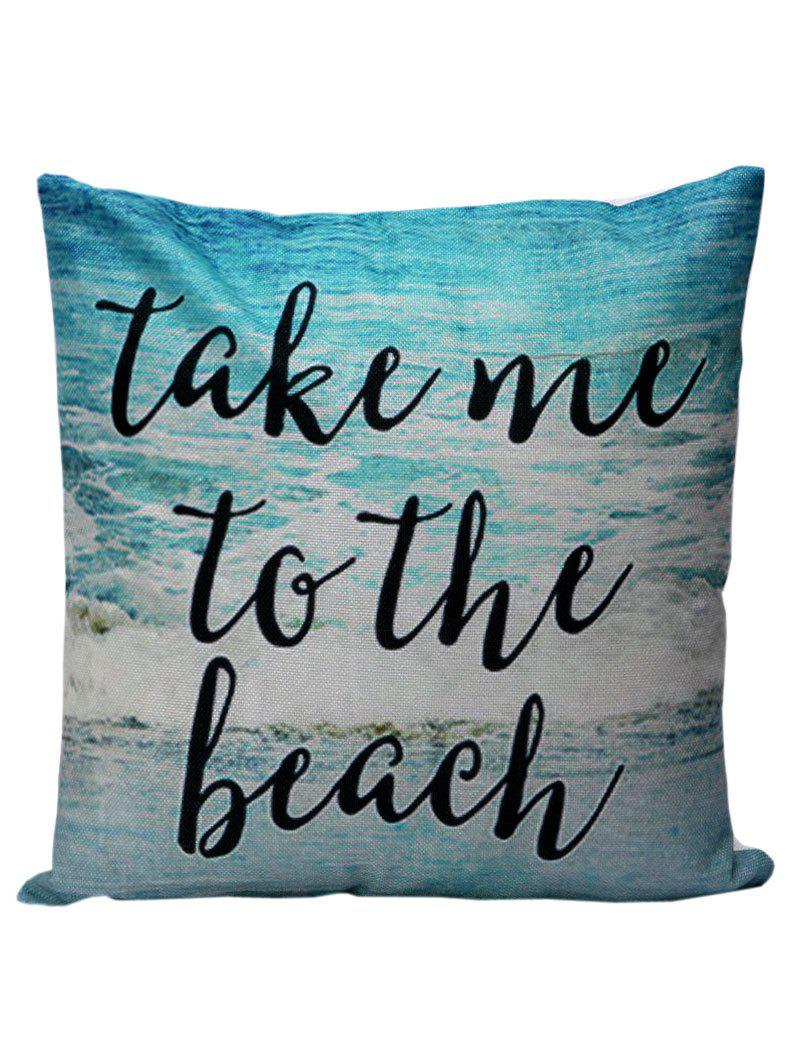 Letter Beach Decorative Throw Pillow CaseHOME<br><br>Size: 45*45CM; Color: LAKE BLUE; Material: Linen; Pattern: Letter; Style: Beach Style; Shape: Square; Size(CM): 45*45; Weight: 0.1000kg; Package Contents: 1 x Pillow Case;