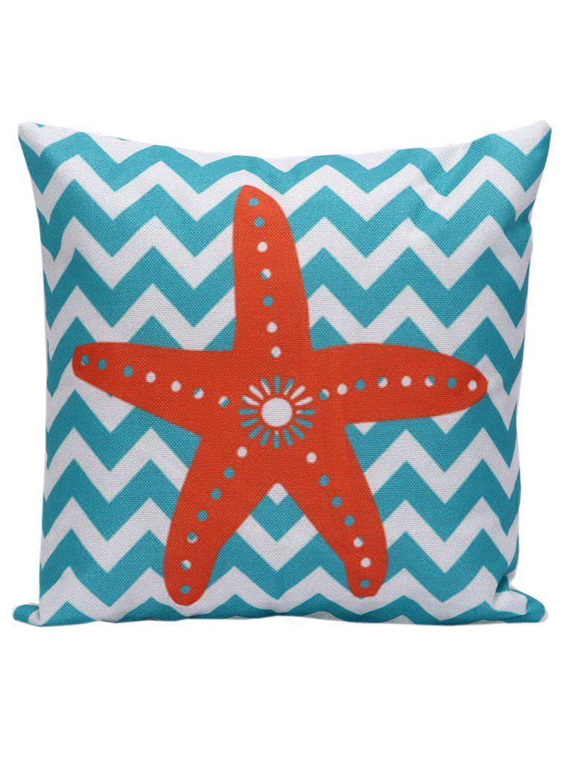Starfish Wavy Print Decorative Throw Pillow CaseHOME<br><br>Size: 45*45CM; Color: BLUE STRIPE; Material: Linen; Pattern: Striped; Style: Accent/Decorative; Shape: Square; Size(CM): 45*45; Weight: 0.1000kg; Package Contents: 1 x Pillow Case;