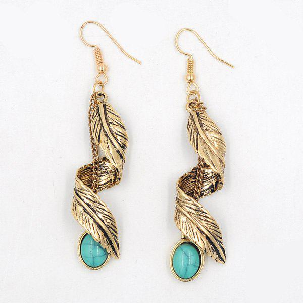 Artificial Turquoise Alloy Leaf EarringsJEWELRY<br><br>Color: GOLDEN; Earring Type: Drop Earrings; Gender: For Women; Style: Trendy; Shape/Pattern: Plant; Length: 7CM; Weight: 0.0500kg; Package Contents: 1 x Earring (Pair);