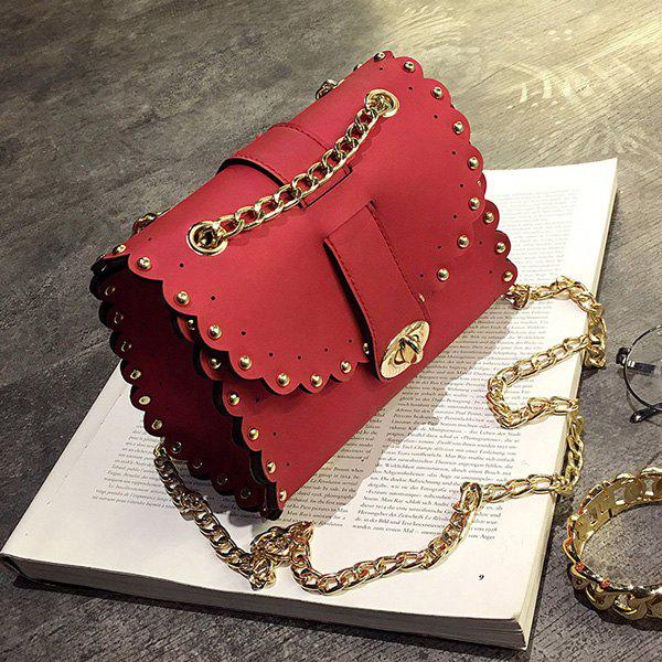 Rivet Chains Scalloped Crossbody BagSHOES &amp; BAGS<br><br>Color: RED; Handbag Type: Crossbody bag; Style: Fashion; Gender: For Women; Embellishment: Rivet; Pattern Type: Solid; Handbag Size: Mini(&lt;20cm); Closure Type: Cover; Occasion: Versatile; Main Material: PU; Size(CM)(L*W*H): 18*9*14; Strap Length: 115CM; Weight: 0.3700kg; Package Contents: 1 x Crossbody Bag;