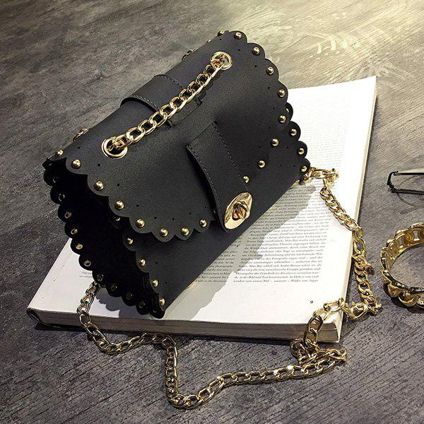 Discount Rivet Chains Scalloped Crossbody Bag