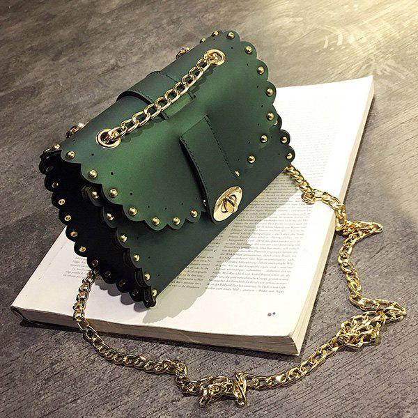Rivet Chains Scalloped Crossbody BagSHOES &amp; BAGS<br><br>Color: GREEN; Handbag Type: Crossbody bag; Style: Fashion; Gender: For Women; Embellishment: Rivet; Pattern Type: Solid; Handbag Size: Mini(&lt;20cm); Closure Type: Cover; Occasion: Versatile; Main Material: PU; Size(CM)(L*W*H): 18*9*14; Strap Length: 115CM; Weight: 0.3700kg; Package Contents: 1 x Crossbody Bag;