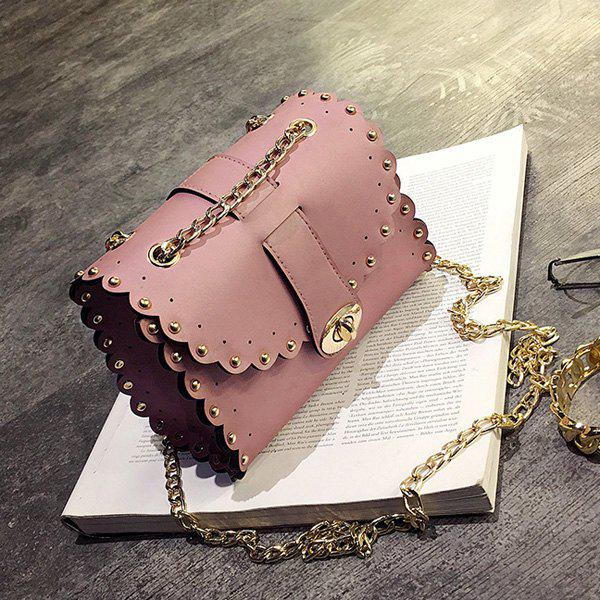 Rivet Chains Scalloped Crossbody BagSHOES &amp; BAGS<br><br>Color: PINK; Handbag Type: Crossbody bag; Style: Fashion; Gender: For Women; Embellishment: Rivet; Pattern Type: Solid; Handbag Size: Mini(&lt;20cm); Closure Type: Cover; Occasion: Versatile; Main Material: PU; Size(CM)(L*W*H): 18*9*14; Strap Length: 115CM; Weight: 0.3700kg; Package Contents: 1 x Crossbody Bag;