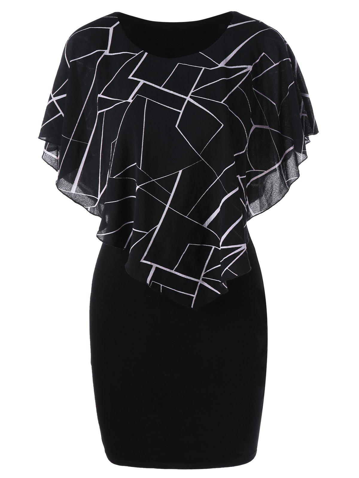Ruffles Printed Mini Tight Fitted DressWOMEN<br><br>Size: M; Color: BLACK; Style: Casual; Material: Polyester; Silhouette: Bodycon; Dresses Length: Mini; Neckline: Round Collar; Sleeve Length: Short Sleeves; Pattern Type: Print; With Belt: No; Season: Summer; Weight: 0.3000kg; Package Contents: 1 x Dress;