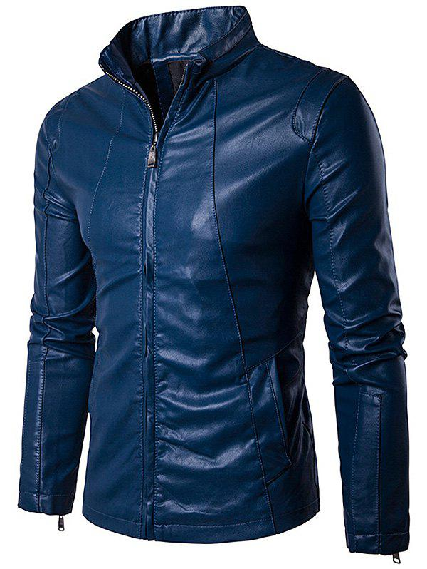 Conception Panel Zip Up PU Leather Jacket Royal XL
