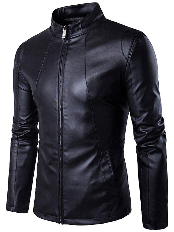 Conception Panel Zip Up PU Leather Jacket