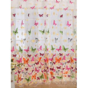Butterfly Print Voile Curtain For Balcony Bedroom - COLORFUL W54 INCH* L95 INCH