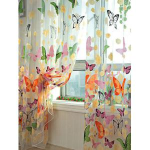 Butterfly Print Voile Curtain For Balcony Bedroom - Colorful - W54 Inch* L108 Inch