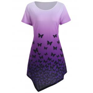 Asymmetrical Butterfly Longline Ombre Tunic Top