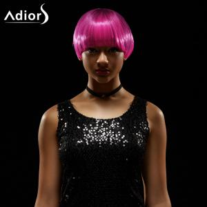Adiors Short Straight Full Bang Bowl Cut Synthetic Wig