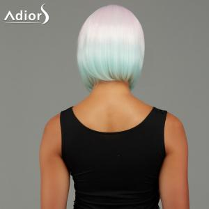 Adiors Short Bob Straight Gradient Side Bang Party Synthetic Wig - COLORMIX