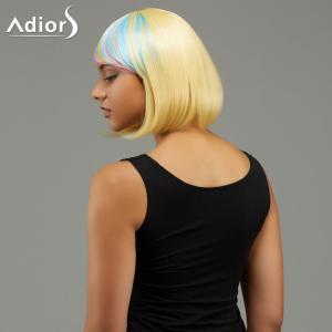 Adiors Short Side Bang Rainbow Gradient Straight Party Synthetic Wigs -
