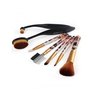 7 Pcs Nylon Makeup Brushes Set - BLACK