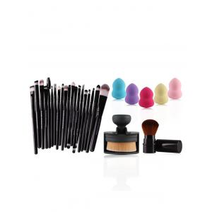 20 Pcs Eye Makeup Brushes Set + Makeup Sponges + Foundation Brush + Blush Brush - BLACK
