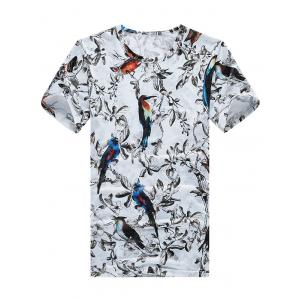 Tree Birds Print Crew Neck Tee